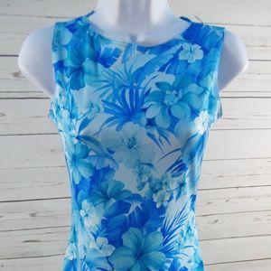 Pulse Womens Small Blue Hawaiian Print Dress